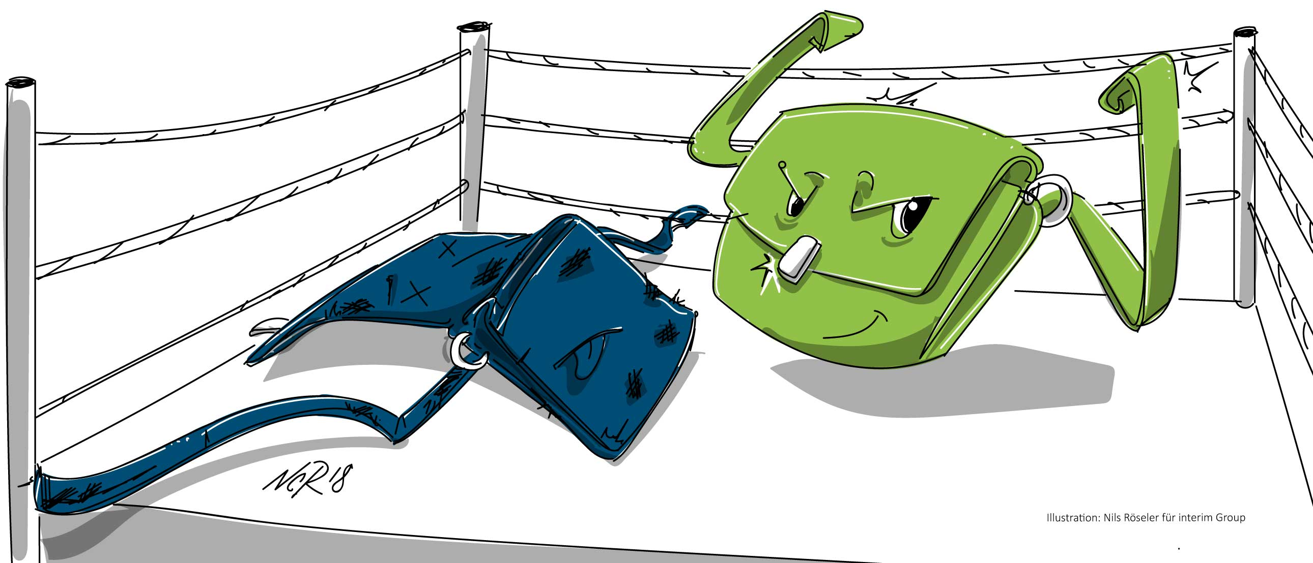 Illustration zum Thema New Work. Copyright Nils Röseler