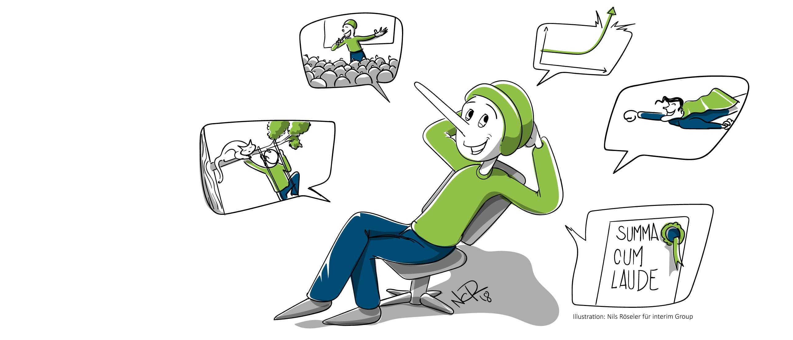 Illustration zum Thema Flunkern im Jobinterview. Copyright Nils Röseler